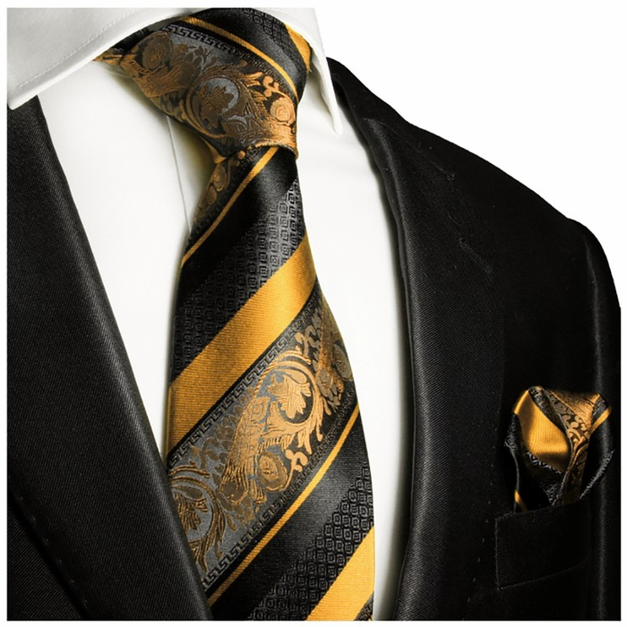 gold and black silk tie set paul malone red line 4